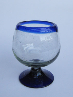 Wholesale MEXICAN GLASSWARE / 'Cobalt Blue Rim' large cognac glasses  / A modern touch for one of the finest drinks, these balloon glasses are the contemporary version of a classic cognac snifter.